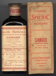 Old medicinal cannabis used to treat a variety of mental & physical ailments. Cannabis is infused with an incredible amount of alcohol. Old Medicine Bottles, Vintage Bottles, Bottles And Jars, Vintage Ads, Antique Bottles, Vintage Logos, Retro Logos, Retro Ads, Vintage Perfume