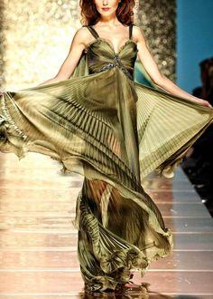 khaki shiffon dress