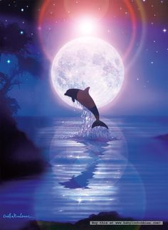 Dolphin Moon Stars Water == Heaven :) - Stop the Dolphin and Orca… Dolphin Art, Dolphin Painting, Dolphins Tattoo, Water Animals, Beautiful Moon, Beautiful Artwork, Moon Art, Christian Art, Ocean Life