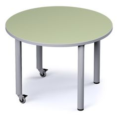 "Russwood Palette 42"" Circle Activity Table Top Finish: Blue Agave, Side Finish: Black"