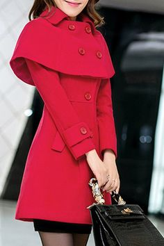 Elegant Long Sleeves Turn-Down Collar Cape Coat For Women