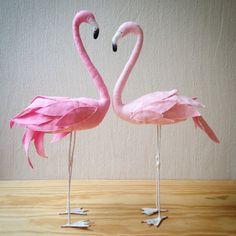 Pink flamingo bird  textile sculpture by AtelierCaroline on Etsy