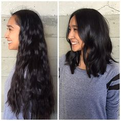 Before and after! Long hair to long bob. Haircut and style by Annji ...