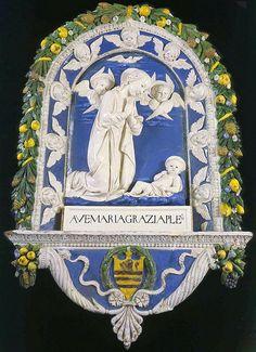 Andrea della Robbia - Madonna in adorazione del Bambino con due cherubini