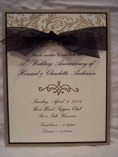 50th Anniversary Invite using Stampin Up Filigree Background stamp