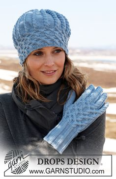 """Ravelry: b - Gloves in """"Merino Extra Fine"""" with cables pattern by DROPS design Beanie Knitting Patterns Free, Free Knitting, Crochet Wool, Crochet Hats, Drops Design, Knit Beanie Hat, Knitting Accessories, Knitted Gloves, Crochet For Beginners"""