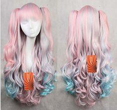 eNilecor Ladies Multi-color Lolita Long Curly Clip on Ponytails Anime Costume Cosplay Wigs (Pink/blue) eNilecor http://www.amazon.com/dp/B00Y8497X0/ref=cm_sw_r_pi_dp_qShvwb1NSG6KD