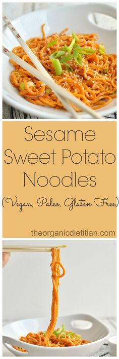 Sesame Sweet Potato Noodles using Spirilizer vegan glutenfree paleo Sweet Potato Recipes, Veggie Recipes, Real Food Recipes, Vegetarian Recipes, Cooking Recipes, Healthy Recipes, Free Recipes, Chicken Recipes, Sweet Potato Spiralizer Recipes