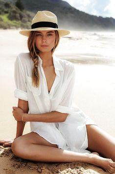 dd3d40b82db77 Mile - Loose Cotton Tunic with Long Sleeves. White Beach ShirtWhite Beach  Cover UpWomen s SwimwearBikinisBeachwearSwimsuitsDress ...