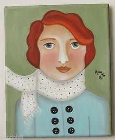 """Lady Edith"" Original folk art painting by Amy Jo Hill"