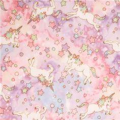 pink purple double gauze unicorn Kokka fabric 2