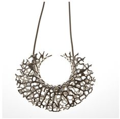 """3D printed jewelry based on hierarchical network algorithms. That's some beautiful science! Click for video on how it was """"grown."""" http://n-e-r-v-o-u-s.com/shop/product.php?code=96&tag=necklace"""