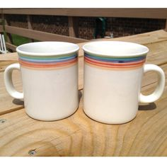 2 Retro Rainbow Coffee Cups by ForeverAmbitious on Etsy, $5.00