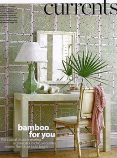 Parsons  Console Table from Bungalow 5 in Atlanta Homes magazine....paired with a bamboo detailed chair