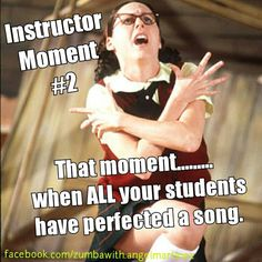 Zumba Instructor moment when all your students have perfected a song... super star!
