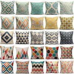 Pillows Vintage Geometric Flower Linen Cotton Pillow Case Cushion Covers Home Sofa Decor & Garden Linen Pillows, Cotton Pillow, Cushions On Sofa, Patio Pillows, Geometric Flower, Geometric Pillow, Pillow Cover Design, Decorative Pillow Covers, Pillowcase Pattern