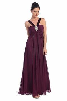 Wide Strap Magenta Chiffon Semi Formal Dress Long Empire Waist