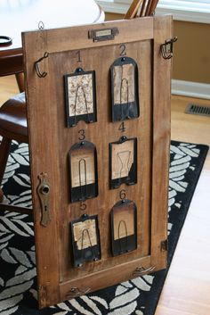 Repurposed vintage hardware and receipt holders made a interesting inspiration board from Mamie Jane's