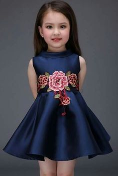 Kids Toddler Girls Active Sweet Party Going out Floral Embroidered Sleeveless Above Knee Polyester Spandex Dress Royal Blue Little Dresses, Little Girl Dresses, Cute Dresses, Girls Dresses, Flower Girl Dresses, Floral Dresses, Fashion Kids, Little Girl Fashion, Latest Fashion