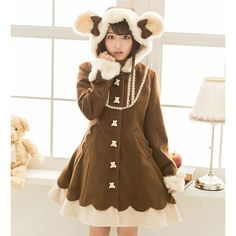 >> Click to Buy << 2016 Winter Japan brand Sweet Cute Bear style Hooded Preppy style Woolen Female Overcoat Women's Slim Medium-long Wool Blends #Affiliate