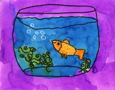 students start by drawing the top oval first, then the bottom one centered below. Connect them with curved sides. Add the oval for the top of the water. A fish and curvy plant may be added as room allows.  2. Trace the bowl, plant and fish with a black Sharpie marker. Draw scales on the fish with a crayon.  3. Paint all the art with liquid watercolor paint.