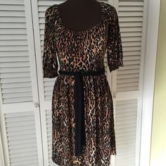 Awesome animal print dress What a beauty of a dress!  Belted and beautiful Boston Proper Dresses Midi
