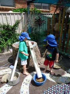 "Marble run with old pvc pipes & marbles at Elder Street Early Childhood Centre ("",)"