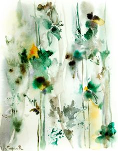 Green Abstract Floral Painting, Art Print from Watercolor Painting, Watercolour Wall Art