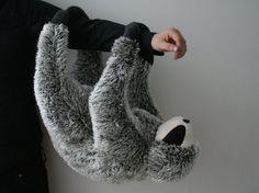 Philip Sloth big plush black and white dark by Smittensknuffels