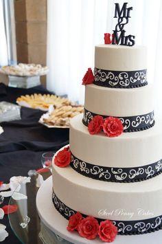 Ivory, red, and black wedding cake #Black #Wedding #Cake