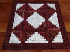 Quilted Red and White Wall Hanging Log by SnowDogQuiltWoodwork