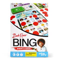 Enjoy the classic game of Bingo, a complete set with instructions packed into one convenient box. Everything you need to start playing right out of the box! Includes with 16 Colorful Bingo cards, 400 Bingo chips, a Bingo call sheet board, 42 calling cards, and instructions. Great for a Bob Ross birthday party, Bob Ross graduation party, art party, baby shower, and family game nights. Host a Bob Ross Bingo party any time. A great fun party game for adults and kids ages 8+! Bingo Party, Bingo Set, Bingo Games, Free Games, Card Games, Home Party Games, Adult Party Games, Adult Games, Family Fun Games