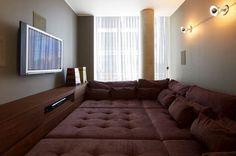 cozy home theatre by design partners Yabu Pushelberg