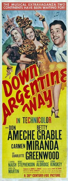 Down Argentine WAY Movie Poster Insert DON Ameche Betty Grable Carmen