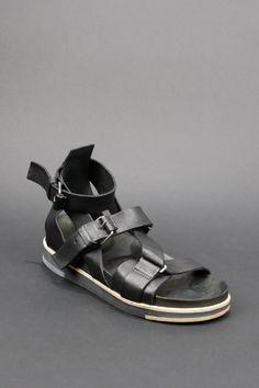 Cinzia Araia - black leather strap sandals