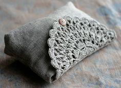 Linen clutch, pouch, purse, makeup bag -- crocheted detail closure via Etsy