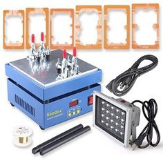 Keedox Screen Repair Machine, LCD Touch Screen Front Glass Separator Refurbishment Tool for Iphone 6 Plus Samsung Galaxy HTC Screen Repairing, with UV Glue LOCA Alignment 6pcs Led Uv Lamp Mould Holders and 20W Fast Curing UV Light Ultraviolet Lamp