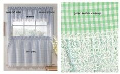 """Checkmate Green Kitchen Curtain - 36"""" tier (pr) by Lorraine Home Fashions. $15.99"""
