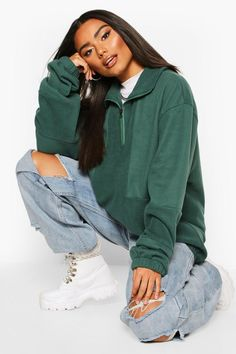 Womens Fleece Funnel Zip Oversized Sweat - Green - S Sweats Outfit, Beanie Outfit, Cute Casual Outfits, Retro Outfits, Laid Back Outfits, Bomber Jacket Outfit, Hoodie Jacket, Baggy Hoodie, Fleece Hoodie