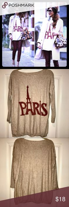 Oversized Paris Sweater Size L Cozy oversized sweater worn great by itself or layered! Sweaters