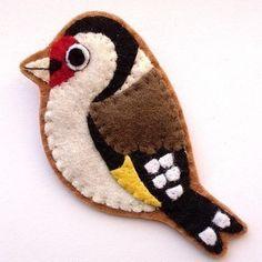 Image of Goldfinch, Felt Bird Brooch