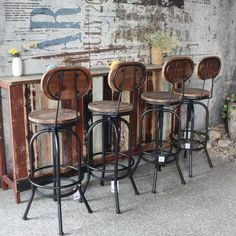 Industrial Stool With Back Rustic Furniture Stores, Modern Rustic Furniture, Rustic Living Room Furniture, Cafe Furniture, Unique Furniture, Furniture Ideas, Bedroom Rustic, Furniture Design, Industrial Bar Stools
