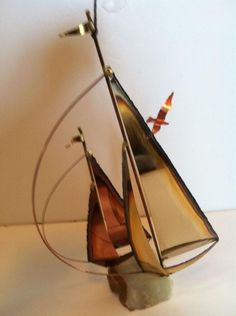 """Mario Jason Original Sailboat (Two) Sculpture - """"Bronze, Brass, Steel and Onyx""""""""An Artist with Imagination Beauty and Elegance in Design are Achieved by the use of Bronze, Brass, Steel and Onyx. Vintage Nautical Decor, Sailboat, Imagination, Mario, Bronze, Brass, Sculpture, Steel, The Originals"""