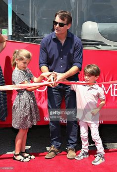 Professional race car driver Jeff Gordon (C) and children Ella Gordon and Leo Gordon attend as 'Ride Of Fame' honors Jeff Gordon at Pier 78 on June 30, 2015 in New York City.
