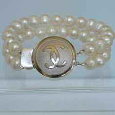 Double Strand Pearl Bracelet with Sterling Chanel Button