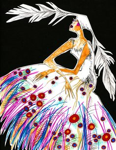 Fashion illustration for Louda Collection Couture by Louda Larrain