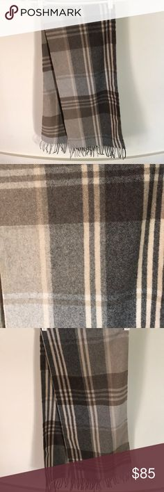 """Jos. A. Bank Cashemere Scarf 100% cashmere - amazing condition.  Like new condition.  12"""" x 66"""".  Gorgeous neutral colors- will keep you warm and fashionable at the same time.  Beautiful plaid print.  3""""fringe at both ends.  Colors include: light gray, dark gray, black, cream, brown.  No signs of wear. Jos. A. Bank Accessories Scarves"""