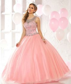 Style 80332 is made of gorgeous Tulle featuring a delicate bodice with illusion straps! Fit for a Queen! #Quinceanera www.qbydavinci.com