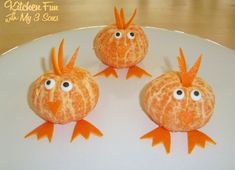 """These fun Clementine Chicks take just a few minutes to decorate. <a href=""""http://www.kitchenfunwithmy3sons.com/2011/03/clementine-chicks.html"""">here</a>"""