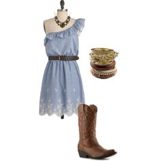 Sunday Stroll Dress with cowboy boots, necklace and bracelets, created by luvpugs on Polyvore